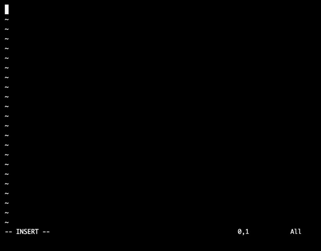 viエディタの入力モード時の画面