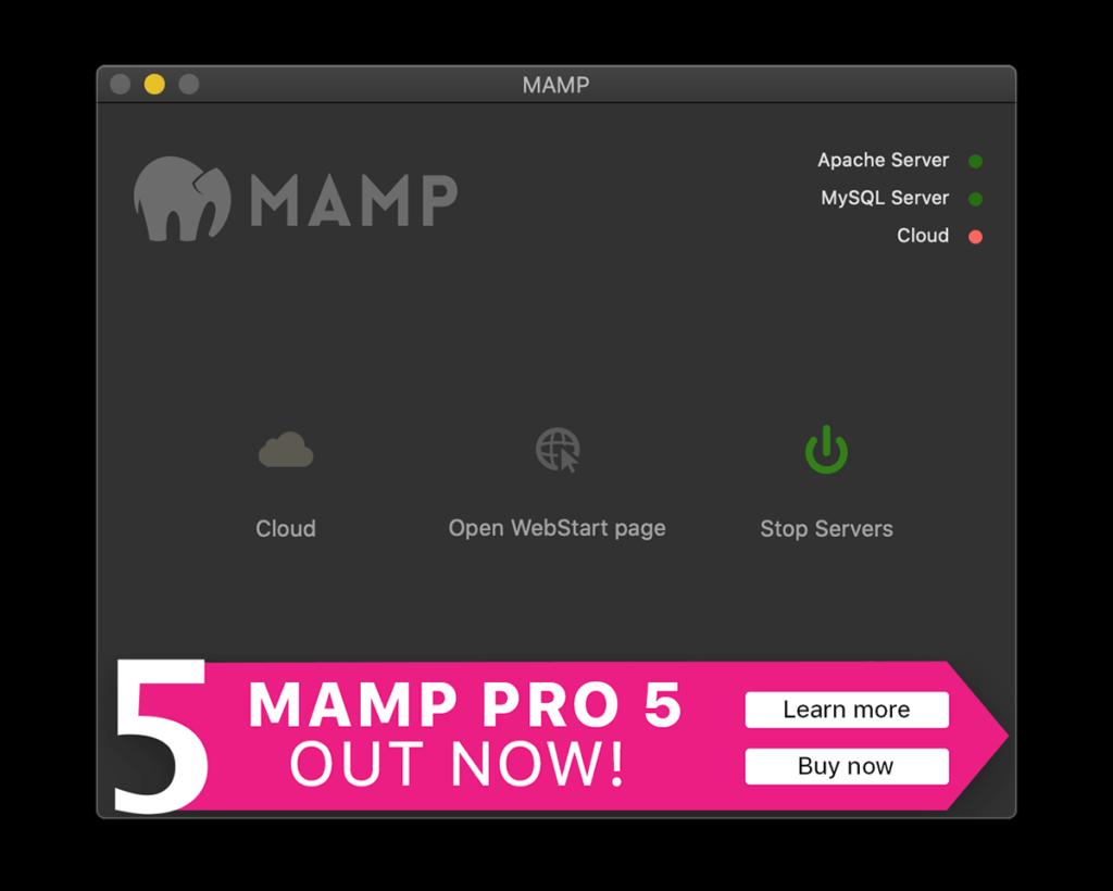 MAMPでWebサーバー起動した状態
