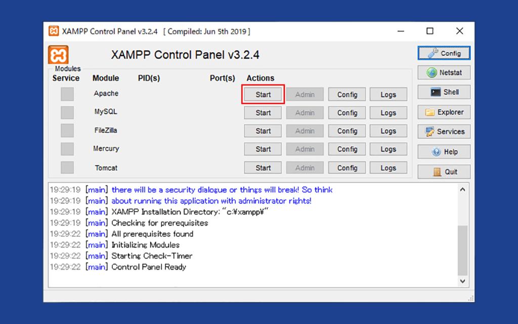 XAMPPのコントロールパネル(Apacheが起動していない状態)