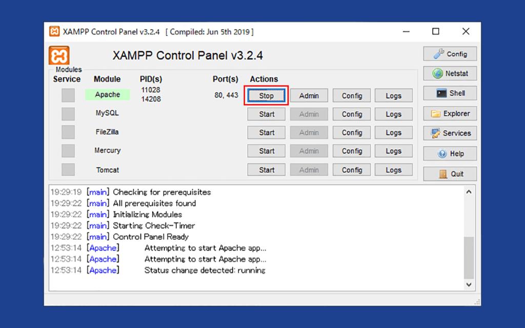 XAMPPのコントロールパネル(Apacheが起動した状態)