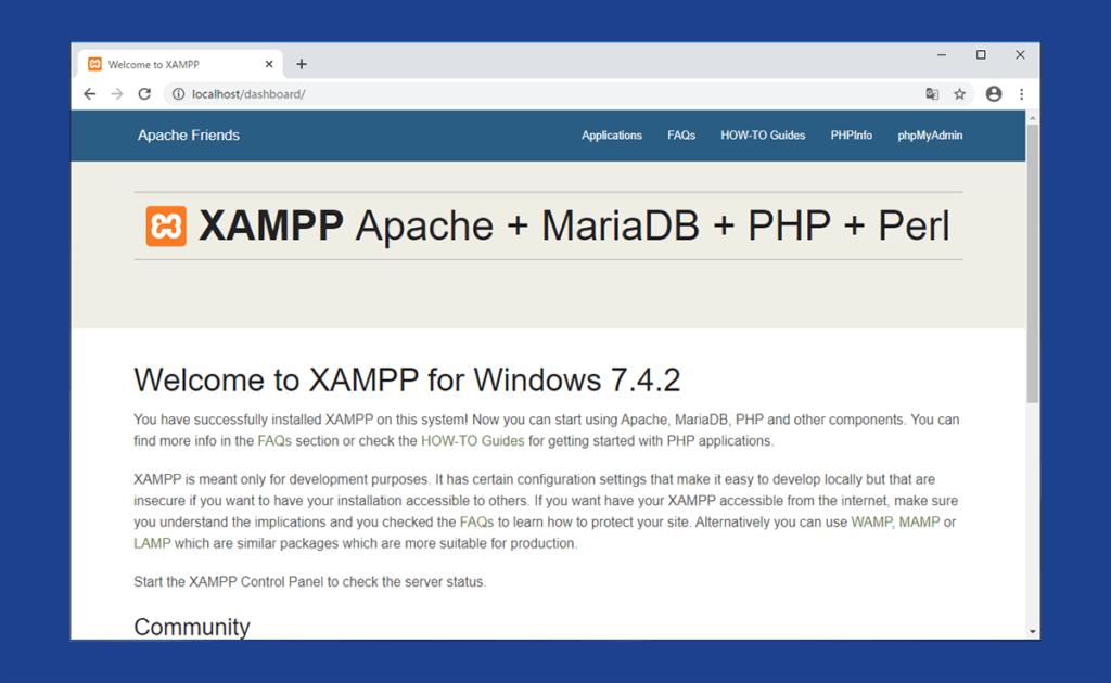 XAMPPのデフォルトWebページ