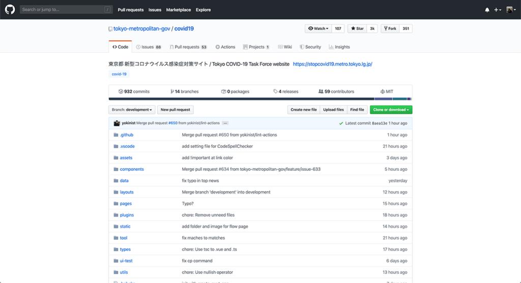 東京都新型コロナウイルス感染症対策サイトのGItHub